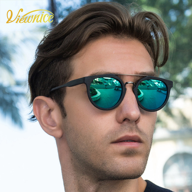 New Gafas de sol Hombre vintage Fashion Sunglasses Polarized couple Round Polaroid wooden Eyeswear  oculos de sol feminino Male