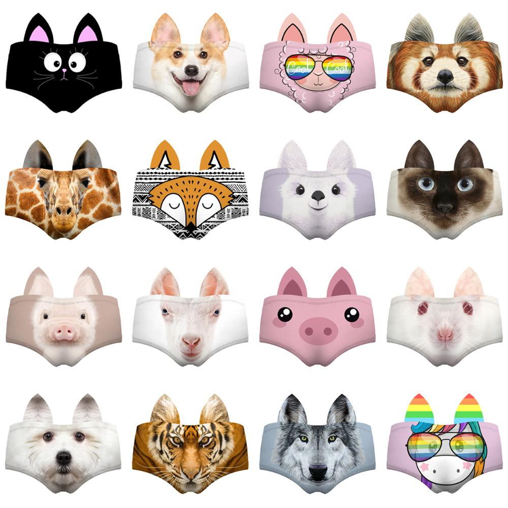 LEIMOLIS Cat Dog Pig Animal Funny Print Sexy Ear Panties Female Kawaii Lovely Underwear Push Up Briefs Women Lingerie Thongs