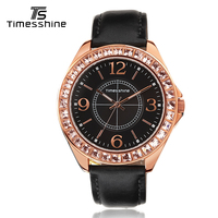Timesshine Luxury Women Quartz Watch Stainless Steel Swarovski Stones Case Genuine Leather Golden Numbers Fashion Watch