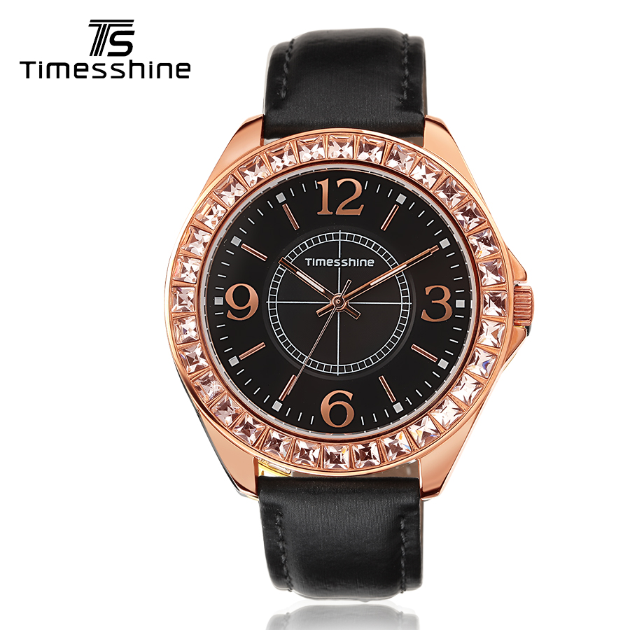 Timesshine Luxury Women Quartz Watch Stainless Steel Swarovski Stones Case Genuine Leather Golden Numbers fashion watch 2017 timesshine women watch quartz watch