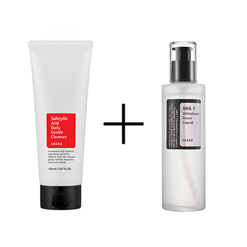 Korean Cosmetics Cosrx Salicylic Acid Daily Gentle Cleanser 150ml + AHA 7 WHITEHEAD POWER LIQUID 100ml Moisturizing Face Skin 2 oz 60 ml salicylic acid 15