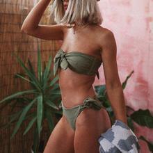 Popular Women Sexy Solid Bikini Push-Up Padded Bow Bandage Swimwear Swimsuit Beachwear High Quality Breathable Women's Swimsuits