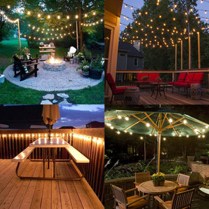 Image 5 - VNL blanco serie de luces para boda, jardín Retro guirnalda decorativa luz con 25 bombillas de bola transparente para colgante para exteriores paraguas Patio