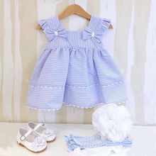 Summer Toddler Baby Kids Girl Dress Bowknot Stripe  Sleeveless Tutu Dresses Sundress Girls Lace цена 2017