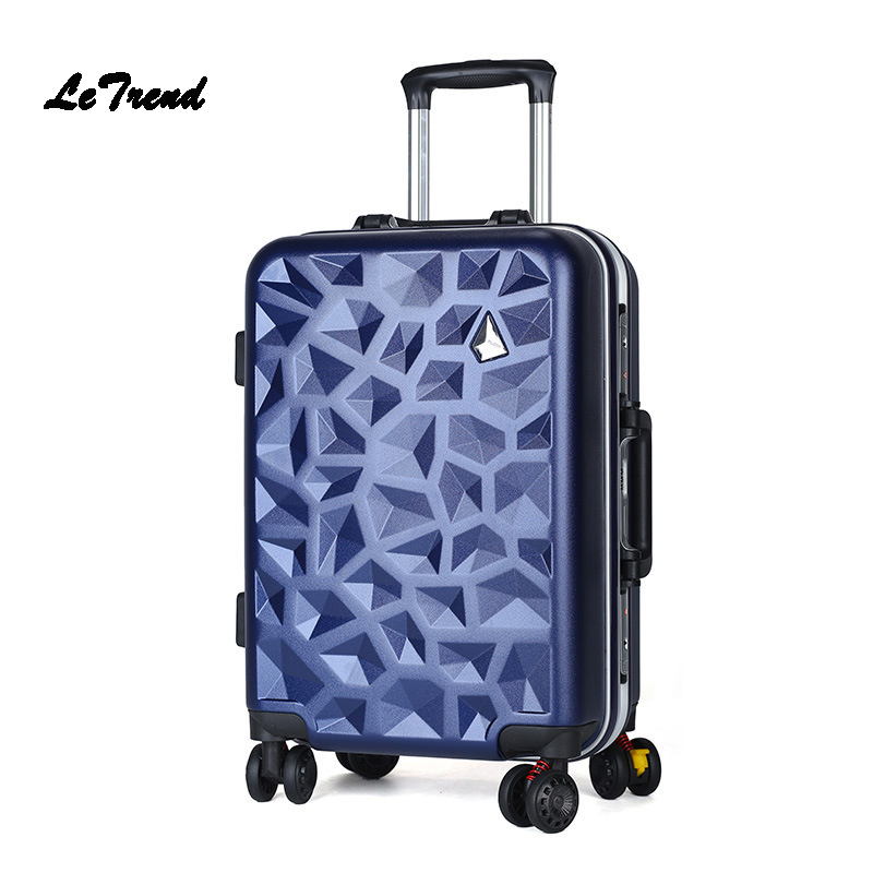 LeTrend Spinner Business Aluminum Frame Rolling Luggage Wheels Suitcase Trolley Women Travel bag 20 inch Student Carry On Trunk universal uheels trolley travel suitcase double shoulder backpack bag with rolling multilayer school bag commercial luggage