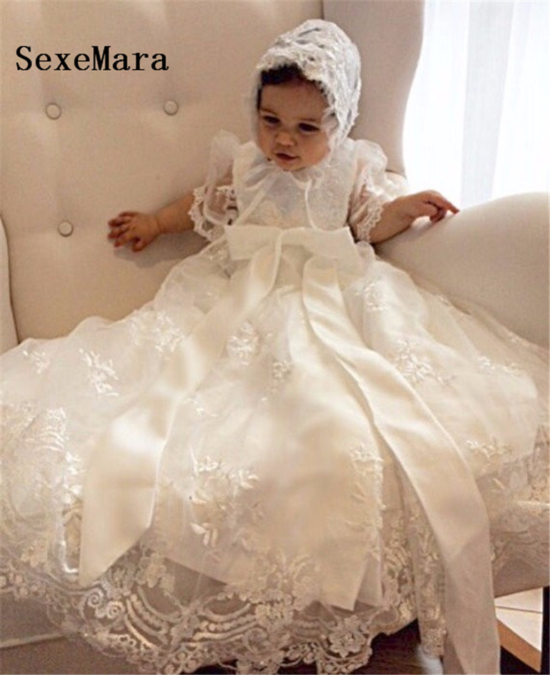 New Lovely Baby Girl Baptism Gown Birthday Party Dress Lace 0 24 month Baby Boy Robe Christening Dress With Bonnet