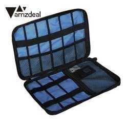 Amzdeal хранение дорожный футляр электронные аксессуары кабель USB накопитель SD карта Органайзер сумка Вставка чехол цифровой кабель