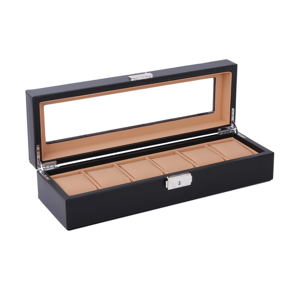 6/12 Girds Luxury Carbon Fiber Watch Box Watch Display Box Storage Holder Organizer Jewelry Dispay Watch Case for Dropshipping
