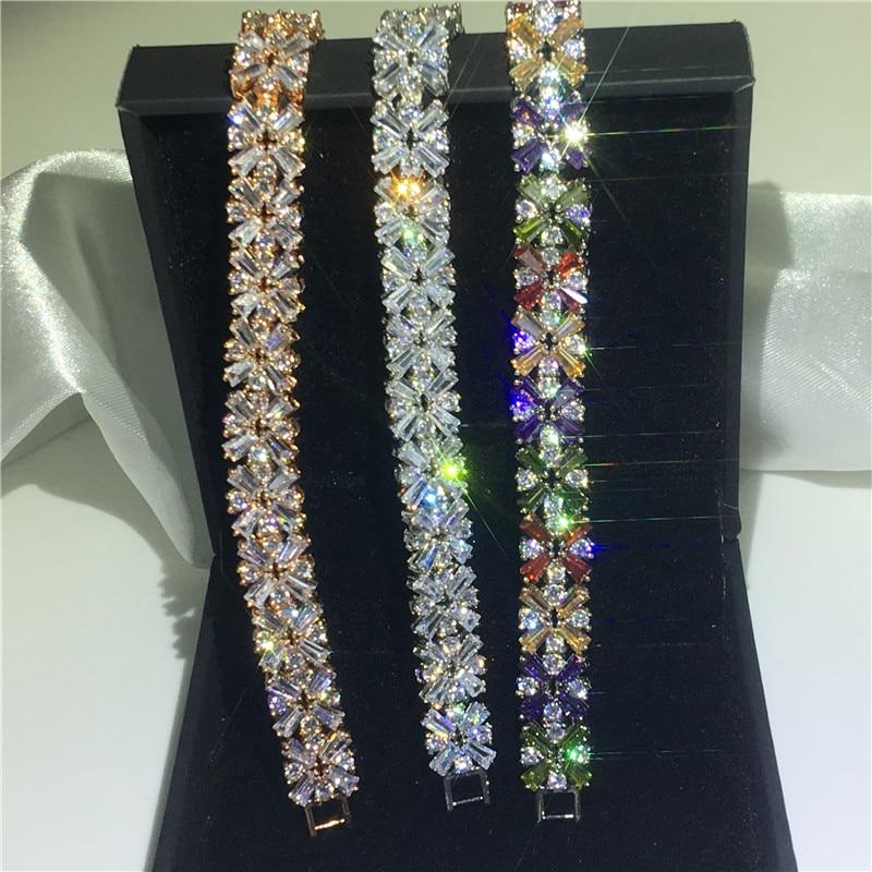 Vecalon 3 couleurs fleur forme Bracelet AAAAA cubique zircone or blanc rempli fête mariage bracelets pour femme bijoux de luxe - 3