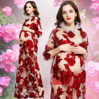 Fashion Red Flower Maternity Lace Dress Pregnant Photography Props Pregnancy Maternity Photo Shoot Long Dress