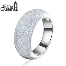 Effie Queen Women Wedding Engagement Finger Ring Trendy Cubic Zircon Ring Luxury Silver Color Jewelry for Female DR122