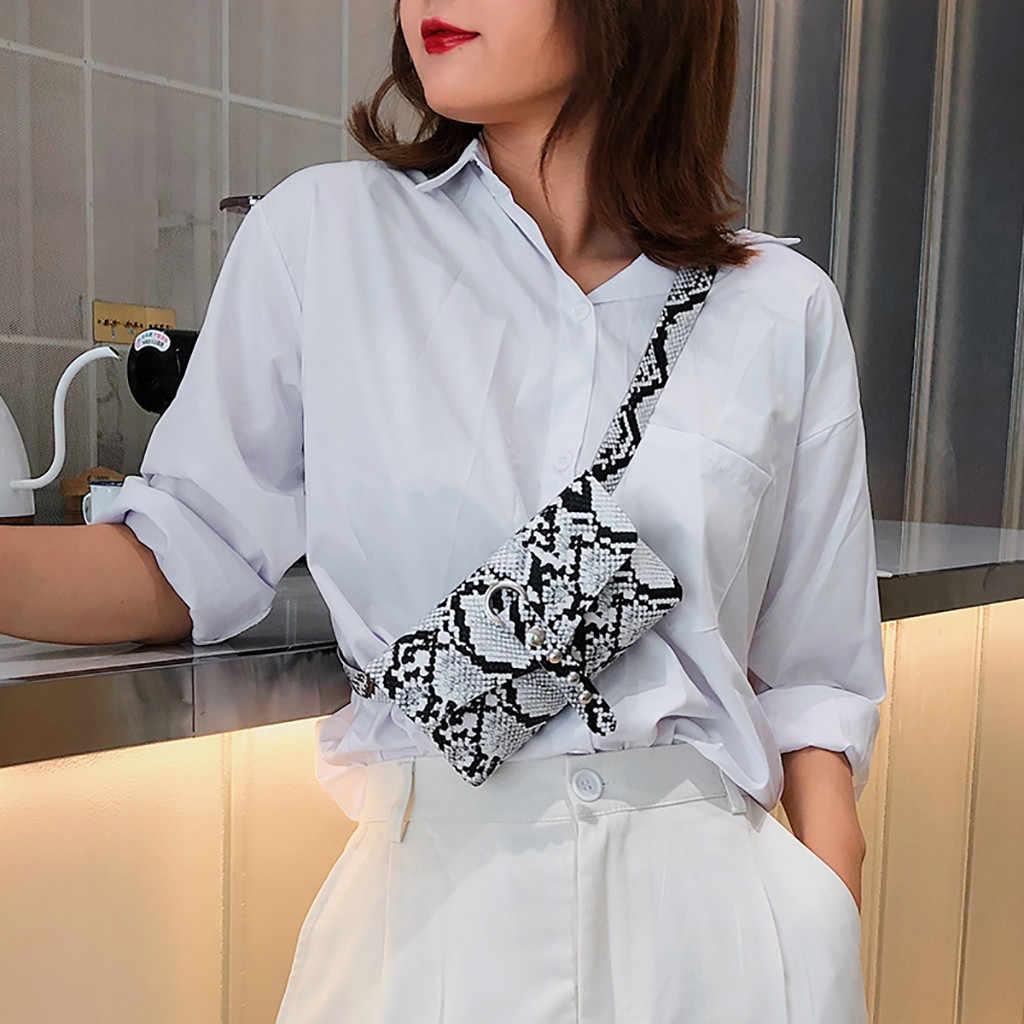 Fashion PU Kulit Bahu Messenger Tas Wanita Tas Pinggang Sabuk Paket Ular Mencetak Selempang Dada Tas Telepon Uang Kantong