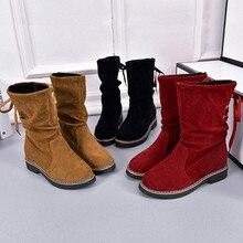 bdd559b02845e Famous Brand Women Ladies Flock Winter Martin Mid-Calf Snow Boots Footwear  Warm Hot Retro