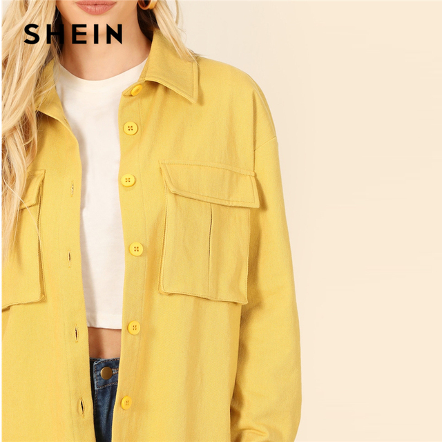 SHEIN Yellow Dual Flap Pocket Front Shirt Plain Jacket Autumn 2019 Casual Regular Single Breasted Women Coat Outerwear 8