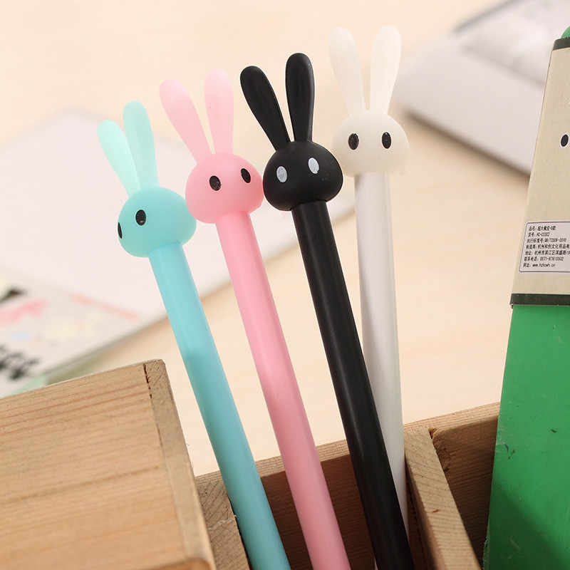 1 stücke cartoon kaninchen gel stift großhandel niedlichen kaninchen gelee form stift Student schreibwaren unterschrift stift 0,38mm Artigos de papelaria