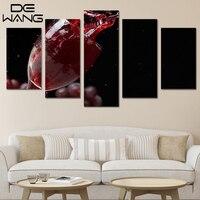 Kamer Wanddecoratie Stilleven Foto 5 Stuks Canvas Muur Druif Wijnglas Bloed Canvas Schilderijen Met Frame Abstract