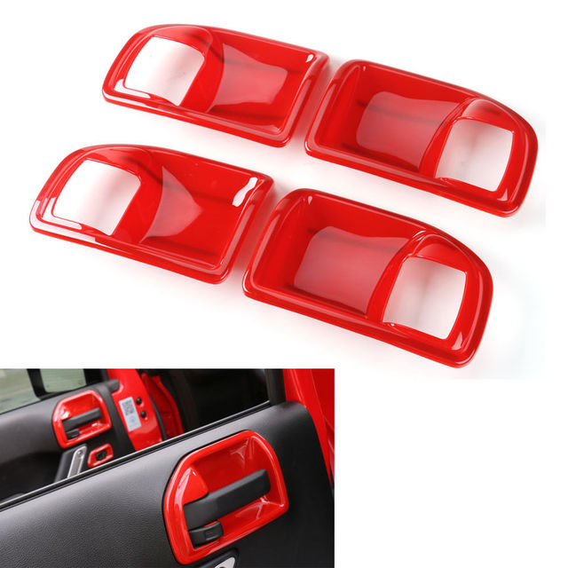 4Pcs Red ABS Car-covers Interior Handle Bowls decoration Cover Trim For Jeep Wrangler Rubicon 11-16 4 Doors handle Car-styling
