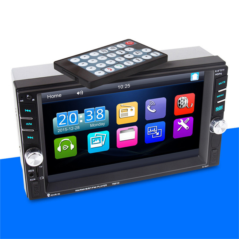 7651 2 din Coche Universal Del Coche MP5 MP5 Bluetooth Radio Car Stereo Audio Pl