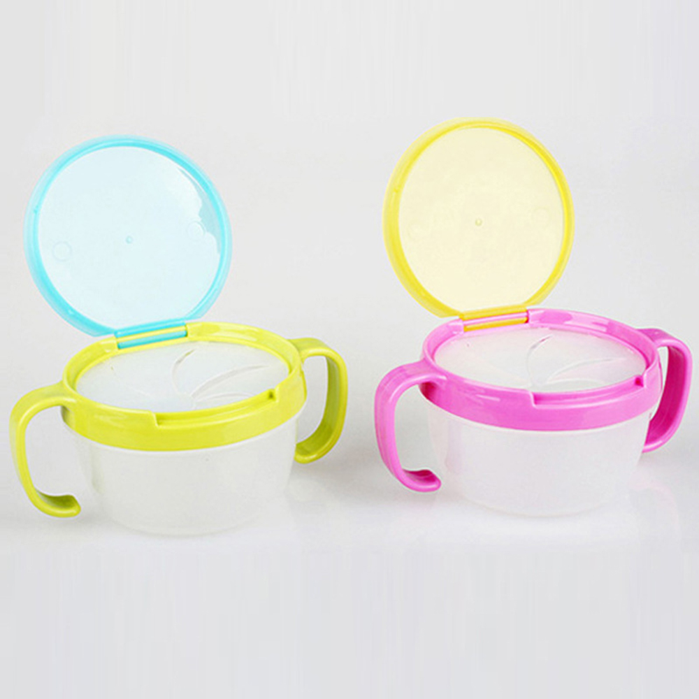Anti Spills Snack Catcher Container PP Dispenser Storage Boxes with Lid Baby Kid 360 Rotate Spill-Proof Bowl Dishes