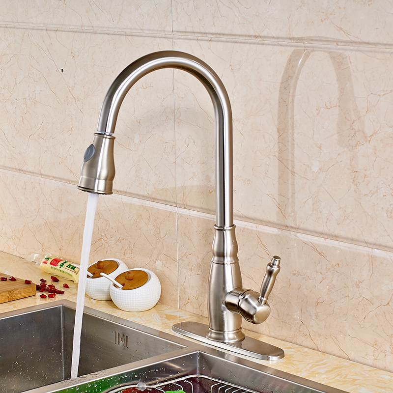 Contemporary Kitchen Sink Faucet Single Handle Mixer Tap with Cover Pate Nickel Brushed