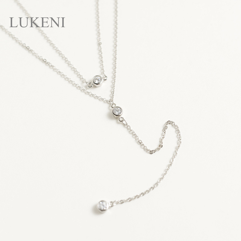 LUKENI New Design Personality White Color Cubic Zircon Double Zircon Long Sweater Chain  ...