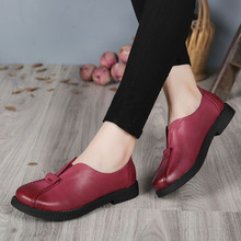 2017 VALLU Handmade Women Shoes Genuine Leather Flat Heels Round Toes Platform Women Causual Shoes