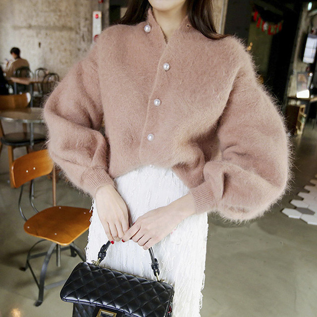White Pink Furry Knitted Sweater Cardigan Jackets 2018 Winter New Imitation  Pearls Single-breasted Lantern Sleeve Sweater Jacket 445146855