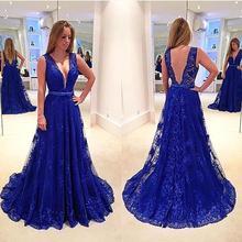 Sexy Tiefem V-ausschnitt Royal Blue Lace A-linie Brautkleider 2016 lange Behälter-sleeveless Geöffnete Zurück Jugendliche Prom Kleider Vestido De Festa