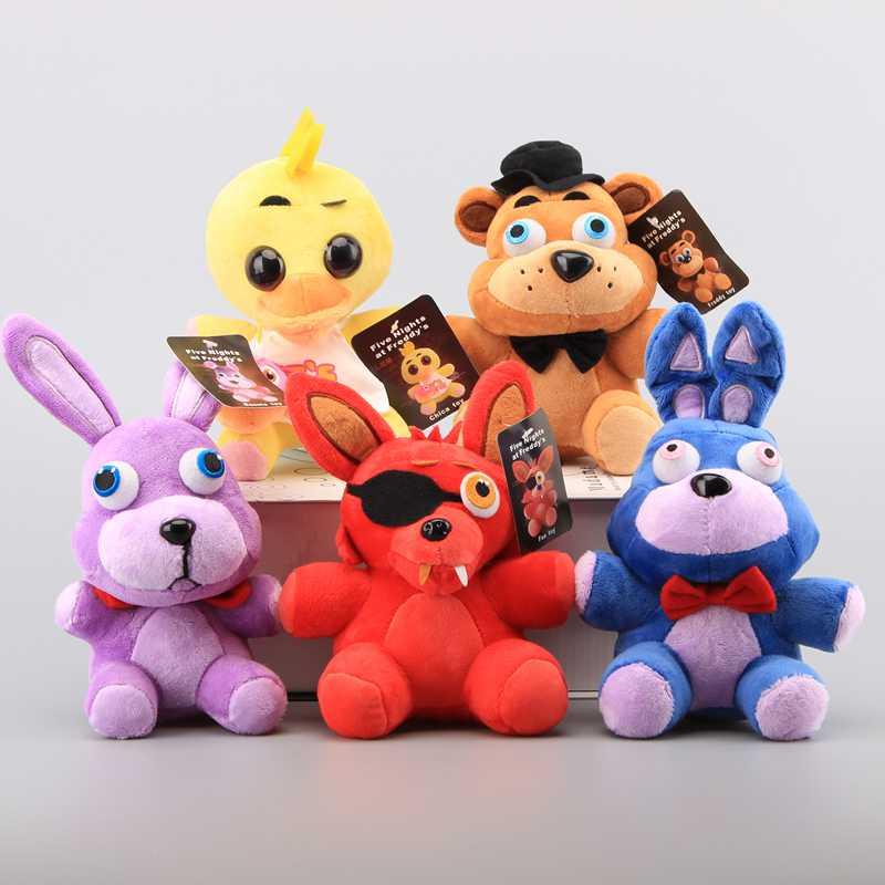 5 Styles FNAF Five Nights at Freddy Plush Toys Fazbear Teddy Bear Boinie Rabbit Chica Foxy Cute Stuffed Soft Dolls 18-22 cm