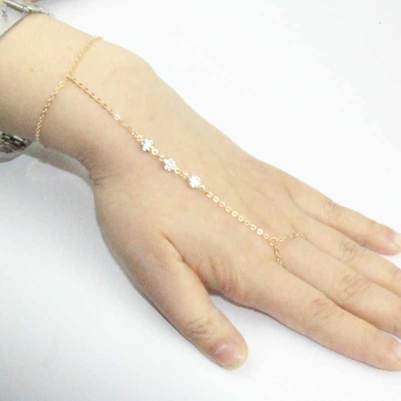 Простой браслет-цепочка с кристаллами и бусинами цепочка на палец модная цепочка с кисточками браслет на руку и браслет для женщин ювелирные изделия ns18