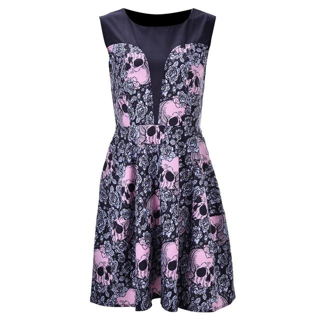 14eb6f1f55c Women Dress Round Neck Sleeveless Skeleton Head Roses Print Party Dress  Vintage Hepburn Style Flare Knee-Length Dress