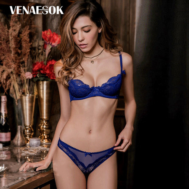 325ce3609cff0 Blue Lace Underwear Set Women Hollow Out Brassiere White See Through Bra  Half Cup Transparent Lingerie