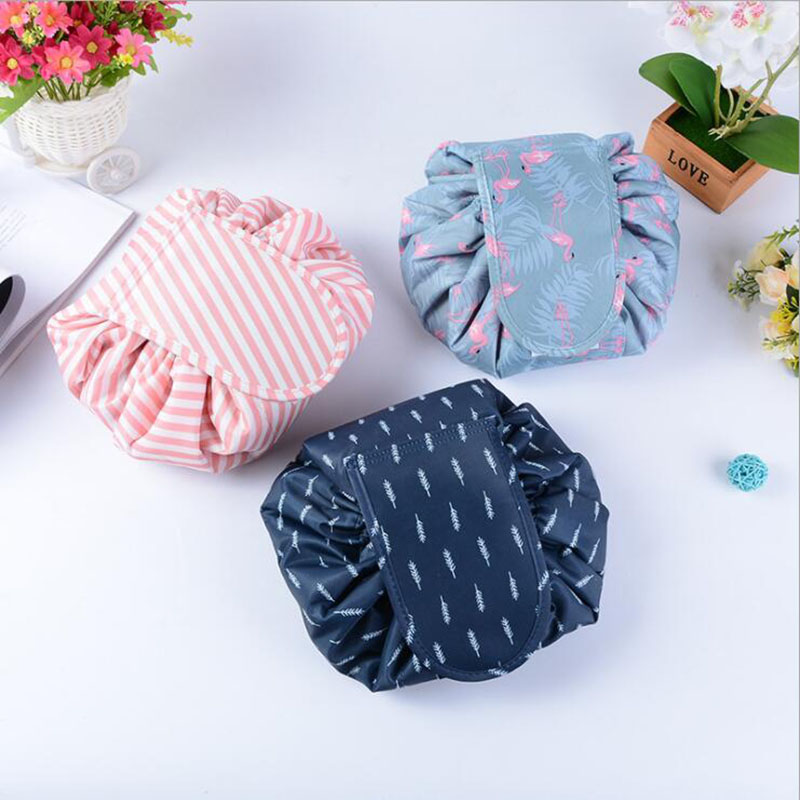 Cosmetic Bag Professional Drawstring Makeup Case Women Makeup Organizer Storage Pouch Toiletry Wash Kit Travel Folding Container