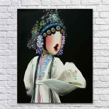 Peking opera canvas oil painting chines sexy lady picture cute art hand painted oil painting canvas wall art  home decor  hair