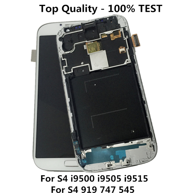 100% New for SAMSUNG Galaxy S4 LCD Display s4 gt-i9500 i9505 i9515 Touch Screen Digitizer assembly with frame Home Button