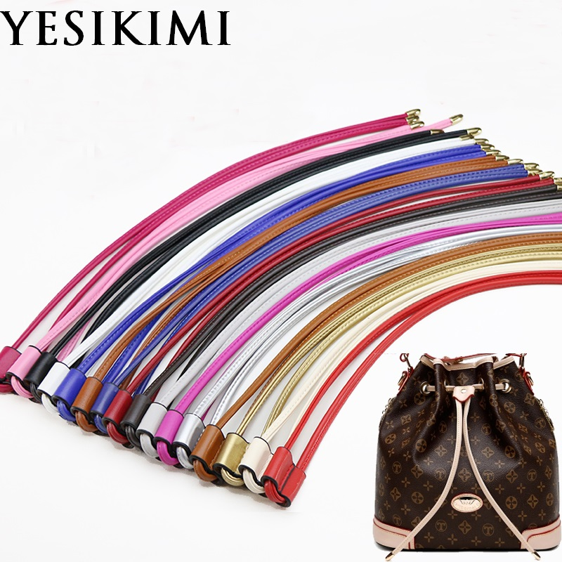 YESIKIMI Bag Accessories Drawstring For Bucket Bag Quality PU Leather 100CM Length Bag Strap bucket bag with drawstring inner pouch