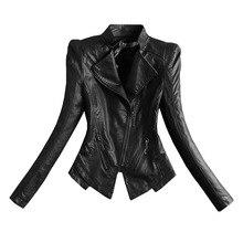 Новое поступление Для женщин весна-осень куртка из искусственной кожи дамские модные матовые мотоциклетные пальто Байкер черный, белый цвет Верхняя одежда LX2591