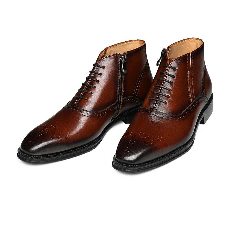 Pé Chelsea Pontas Dos Negócios Do Mycolen Sapatos Botas marrom Britânico Dedo Homem Qualidade Hombre Casuais Tornozelo Preto Alta Homens De Estilo wBBq6I0