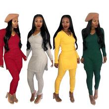 2018 Full Sleeve Fork Winter tracksuit V Neck Women Set T shirt Pencil pant Lady fashion