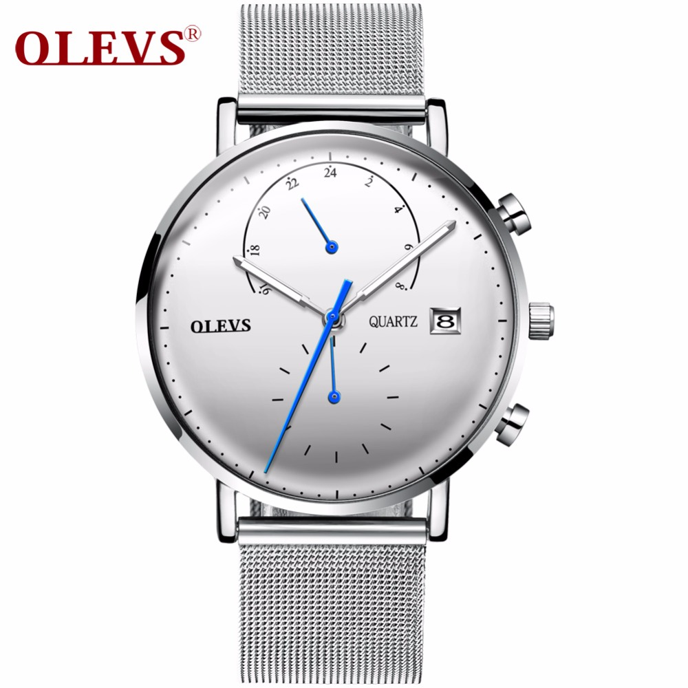 OLEVS Luxury Multifunction Watch Men Calendar Luminous Hands Clock Male Wristwatches Mesh Steel Strap Watches relogio masculino