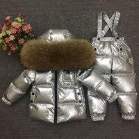 Детские зимний комбинезон роскошные серебряные натуральный мех русской зимы детская одежда пуховик + комбинезон для маленьких мальчиков д