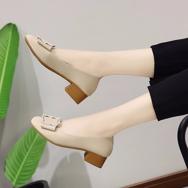 Single shoe women 39 s thick heeled high heeled shoes in summer new Korean version of shallow soft soled Womens Shoes in Women 39 s Pumps from Shoes