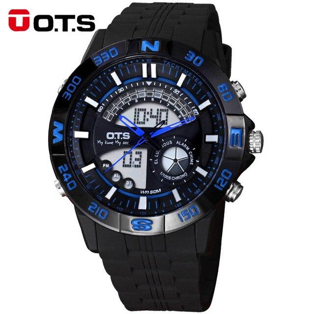 Топ Мужчины Цифровые Часы ОТС Бренд мужской Кварц водонепроницаемый СВЕТОДИОДНЫЙ Спортивные Часы Мужчины Военный Наручные Часы Relogio Masculino