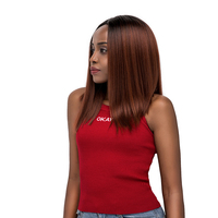 SOKU Lace Front Synthetic Hair Wigs Yaki Straight Middle Part Lace Wig High temperature fiber Short Bob Wig For Women