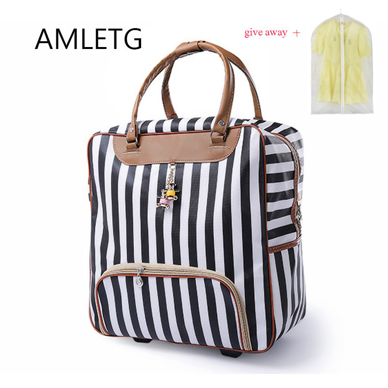 New Hot Fashion Women Trolley Luggage Rolling Suitcase Brand Casual Stripes Rolling Case Travel Bag on Wheels Luggage Suitcase|Rolling Luggage| |  - title=