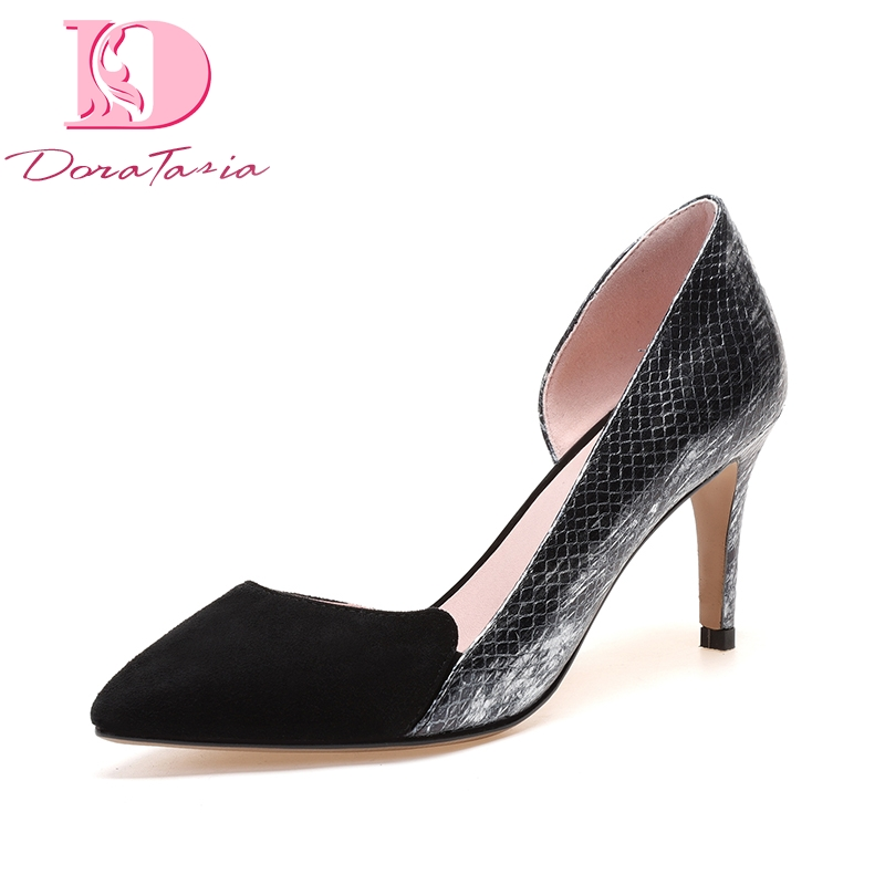 Doratasia 2018 Cow Genuine Leather Summer Black Patchwork Pumps Shoes Women Thin High Heels Pointed Toe Woman Shoes lapolaka cow genuine leather mix color spring summer pointed toe women shoes pumps thin high heels shoes woman