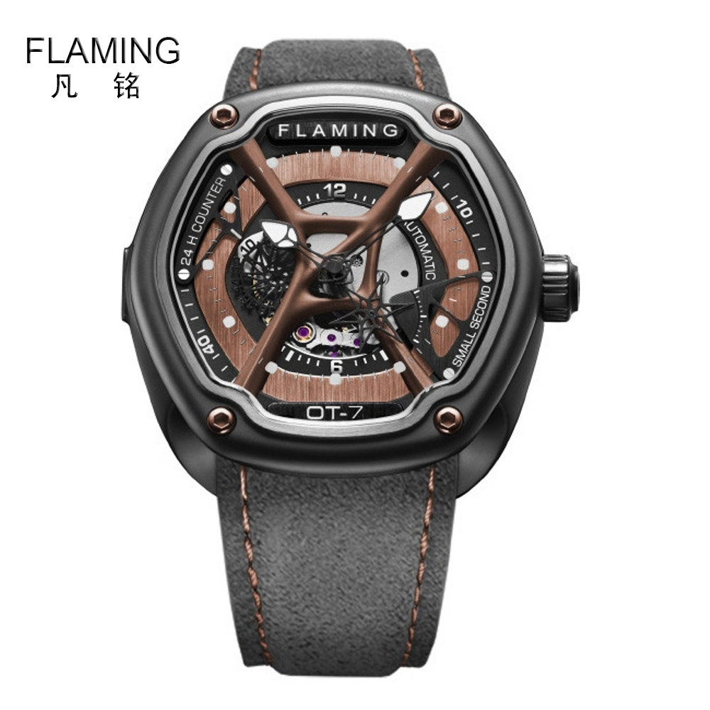 FLAMING Dietrich Series Newest Organic Time OT-7 Watches Men Luxury Automaitic Movement Wristwatch with Black Leather Strap Gift flaming lips flaming lips this here giraffe ep
