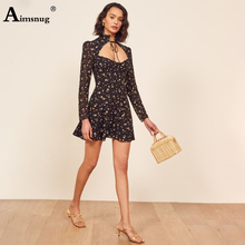 French Style Female The Dress Print Flower Black Turtleneck Lace-up Low Chest Strapless High Waist Long-sleeved 2019 Women Dress все цены