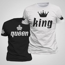 King & Queen Couple Matching Shirts with Sleeve Print (Black is Women,White is Men) Cotton  funny t shirts  men t shirt майка print bar moriarty is our king