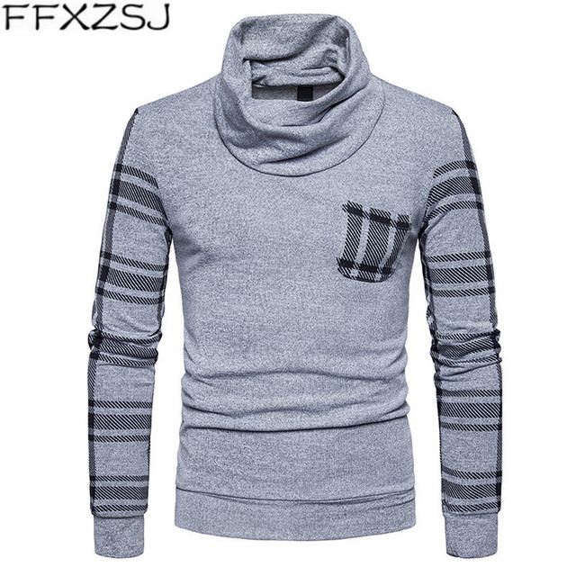 FFXZSJAutumn new men's pullover sweater turtleneck slim long sleeve pullover sweater plaid stitching large size sweater pullover